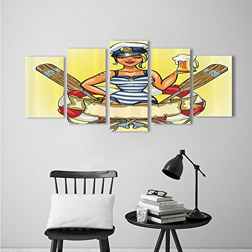 Wall Art for Living Room Decor 5 Piece Set Frameless Pin up Sexy Sailor Girl in Lifebuoy with Captain Hat and Costume Glass of Femin for Home Modern Decoration Print Decor