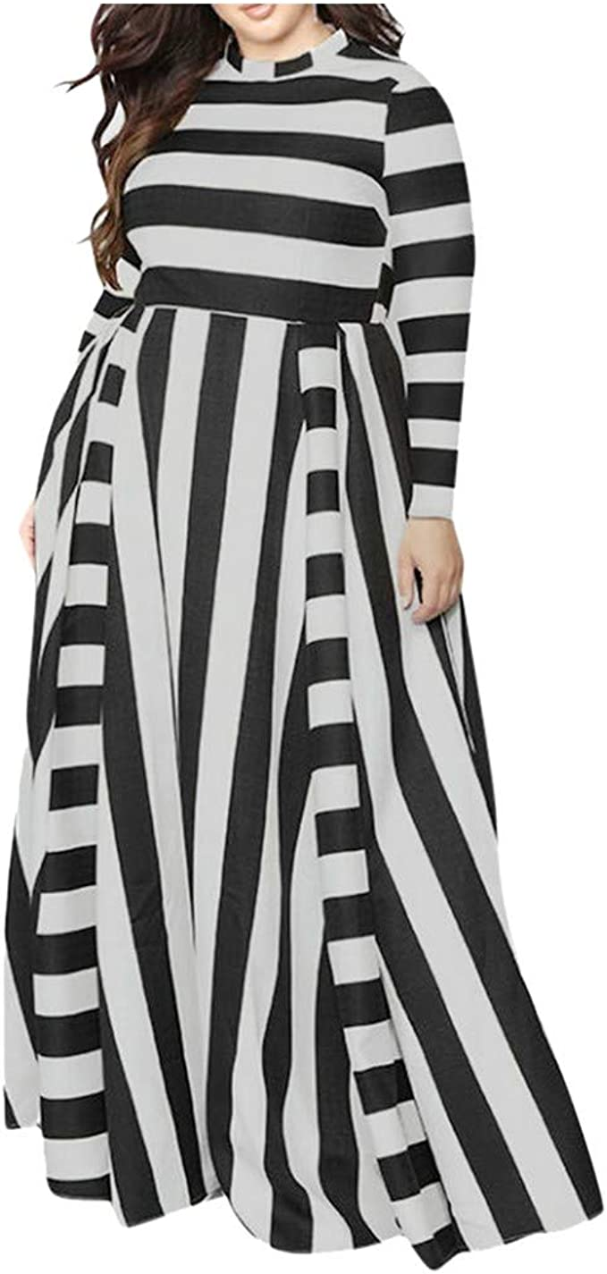 JXQ-N übergröße Kleider Damen Gestreiftes Elegant Rundhals Kleid