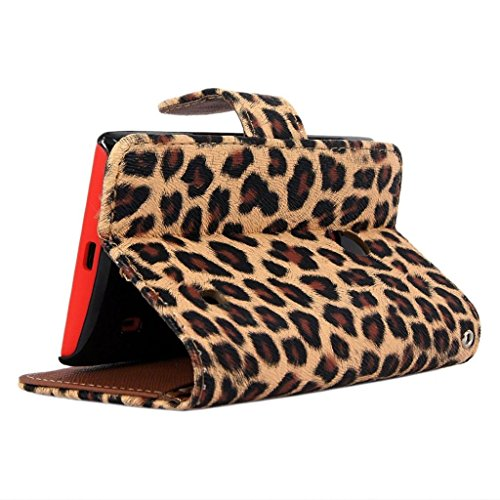 Wallet Leopard Skin Flip PU Leather Pouch Stand Case Cover For Smart Mobile Cell Phones(ZTE zmax Z970)