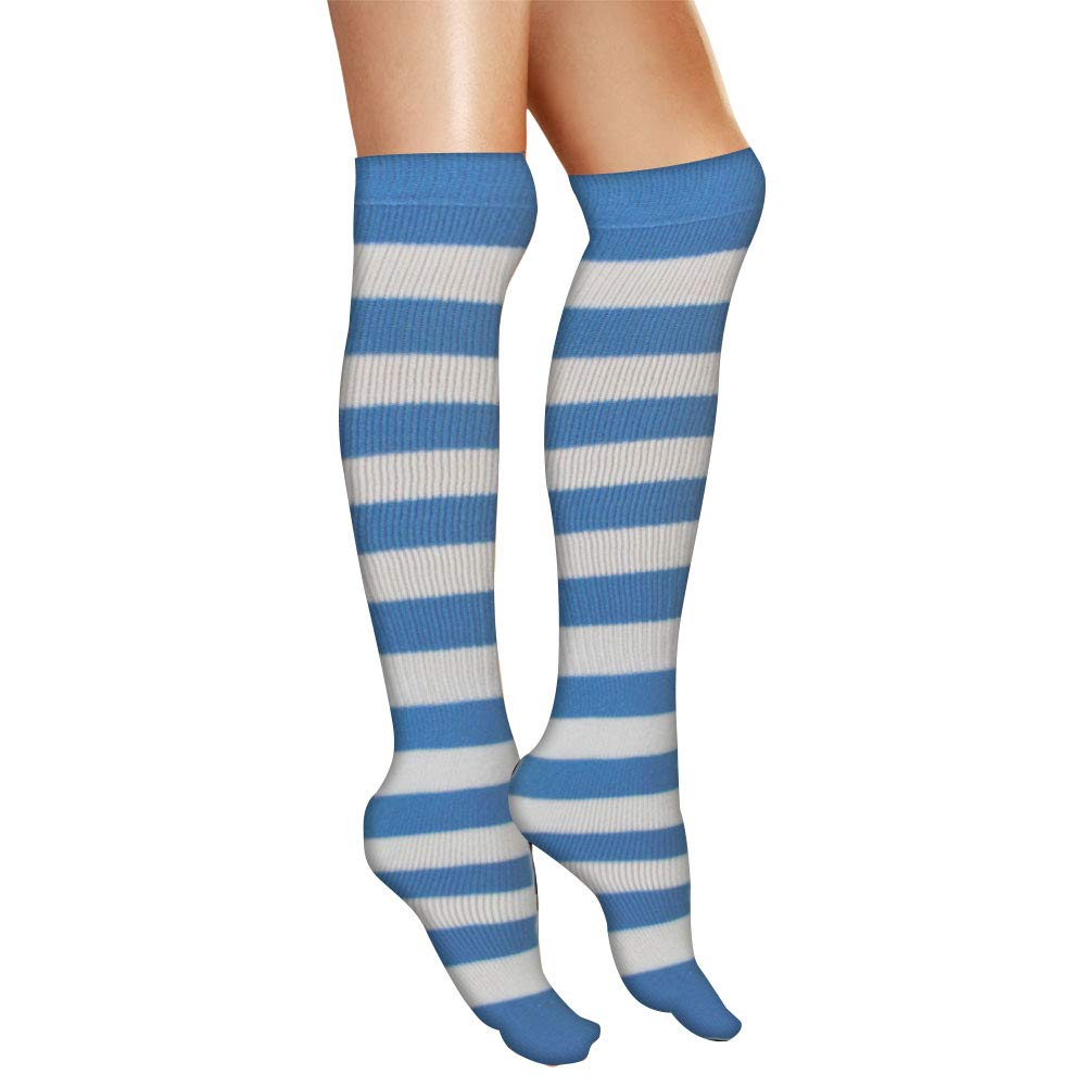 9622d13e8e7 AJs Adult Knee High Striped Socks - Baby Blue White at Amazon Women s  Clothing store