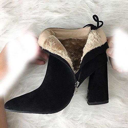 negro 35 cm Botas gruesa punta lijado de de 9 tacón con alto de de de botas terciopelo RRqw6raTP