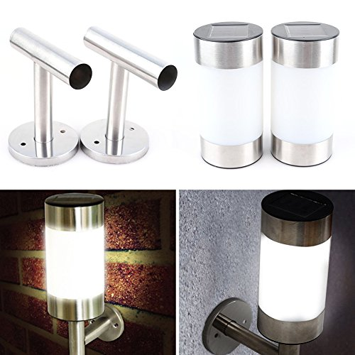 osierr6 Solar Powered Wall Lamp, 2pcs Stainless Steel LED Solar Wall Mount Light,Ultra Bright Cylinder light for Home Garden Patio Pathway Decor(2pcs,silver and white)