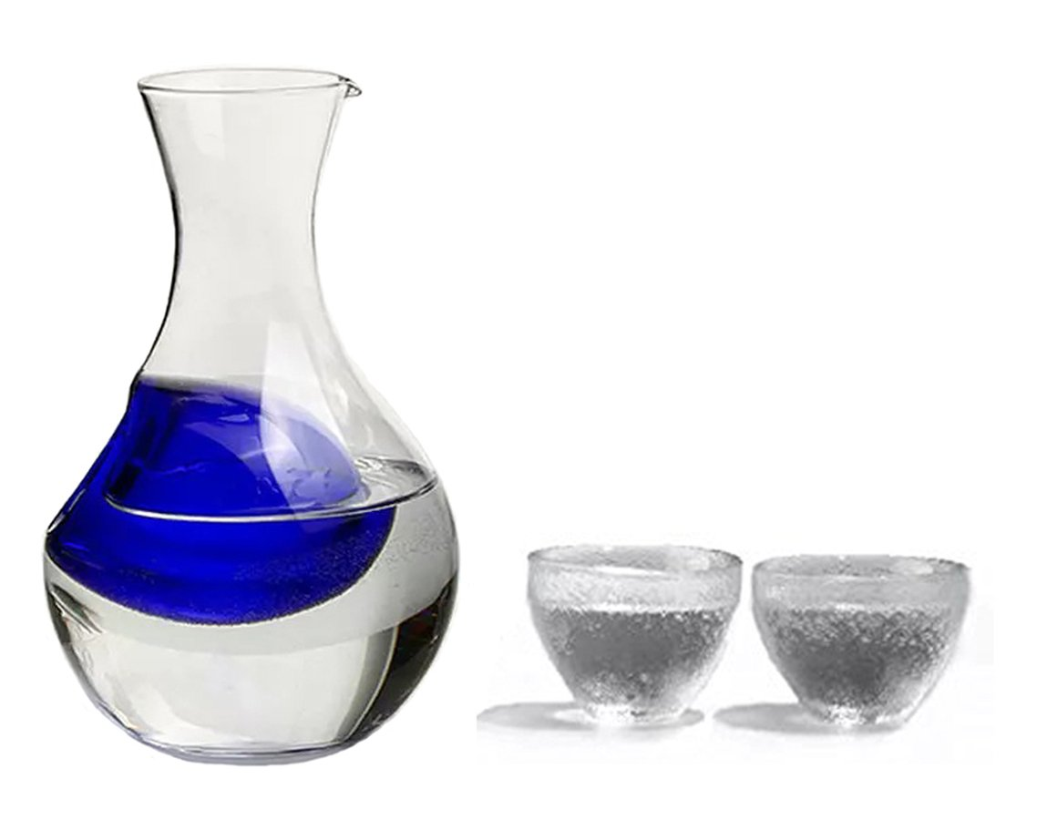 KCHAIN 3 Piece Glass Cold Sake Set with Blue Ice Hole Bottle and Set of 2 Glass Cups KCHAIN LIMITED