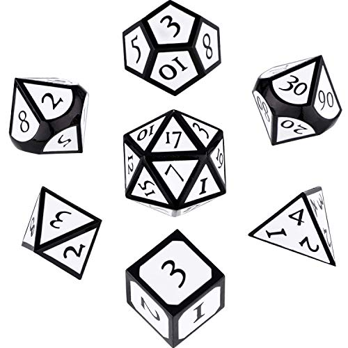 Hestya 7 Pieces Metal Dices Set DND Game Polyhedral Solid Metal D&D Dice Set with Storage Bag and Zinc Alloy with Enamel for Role Playing Game Dungeons and Dragons (Black-White)