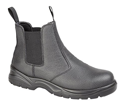 Grafters Mens Leather Pull On Chelsea Steel Toe Cap Work Safety Ankle Boots Shoes Size 6-12 Black rMbTutWA