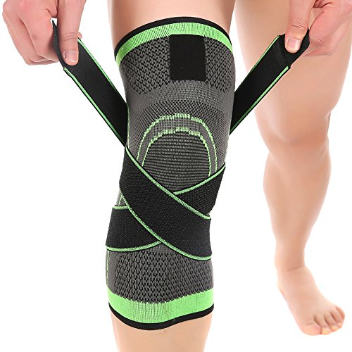 LOKEP Comfortable & Breathable Knee Brace Knee Compression Sleeve, 3-Dimensional Knit, Adjustable Compression Straps, 1 Piece for Men & Women Training Running Hiking Lifting Basketball