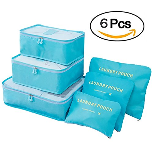 Clothes Travel Luggage Organizer Pouch (Light Blue) Set of 6 - 7