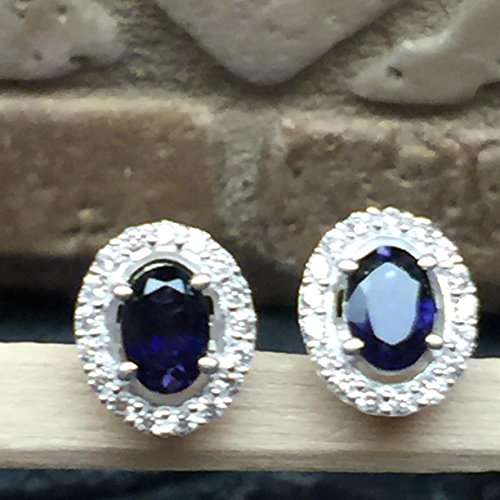 - Natural 2ct Iolite { Water Sapphire } 925 Solid Sterling Silver Earrings 10mm