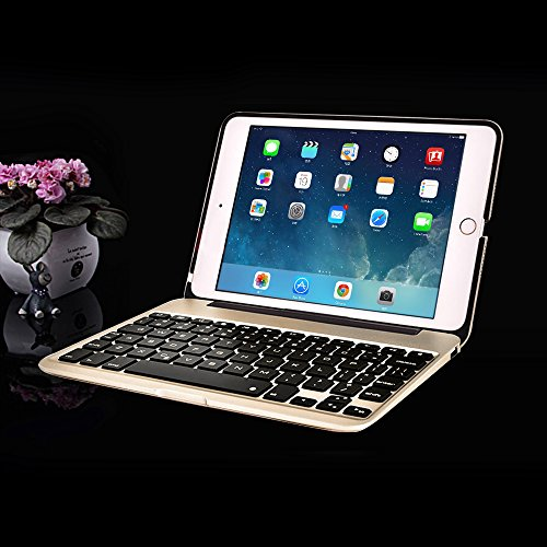 MOSTOP iPad Mini 4 Keyboard Bluetooth Slim Aluminum Wireless Keypad With 7-Color LED Backlit & Built-in 2800mAh Power Bank for iPad Mini 4 (Gold) by MOSTOP (Image #6)