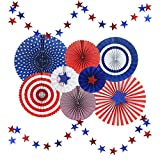 Stars and Stripes American Style Polka Dots Paper Fan Party Decoration with Glitter Stars Banners