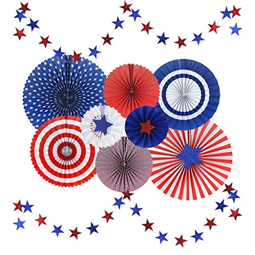 Stars and Stripes American Style Polka Dots Paper Fan Party Decoration with Glitter Stars Banners by Gukansan