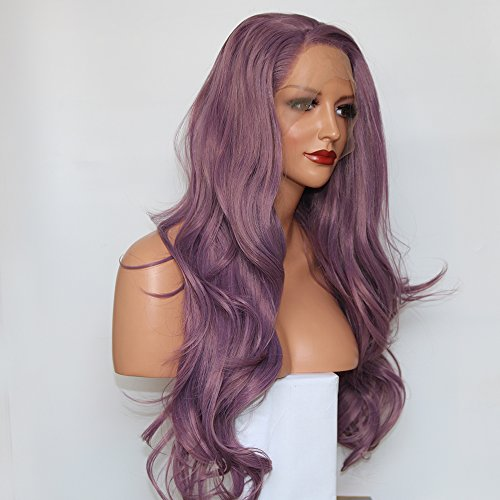 Fantasy Beauty Side Part Purple Lace Front Wig Long Wavy Synthetic Fiber Glueless Wave Wig Hair Replacement Wigs 24 Inches (Purple)