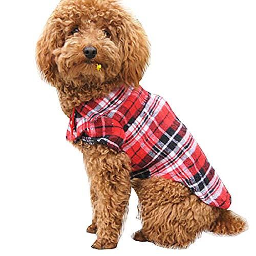 Aonember Dog Plaid Shirt Pet Warm and Soft Shirt Dog Western Shirt Pet Puppy T-Shirt Clothes Outfit Apparel Coats Red