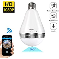 Wireless Bulb Camera Led Light Lamp VR 360° Panoramic 1080P Security System For Indoor Office Home Baby Pet Room With Night Vision and Motion Detection