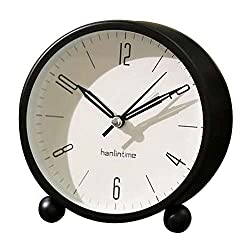 Black Temptation Round Silent Alarm Clock Battery Operated Light Functions [A] #01