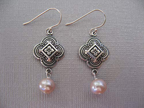 Vintage Style Cultured Pink Pearl Sterling Silver Earrings Artisan Jewelry Clover Shape
