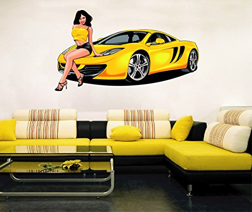 Sporty Cars (cik349 Full Color Wall decal sexy girl sporty car a powerful room bedroom)