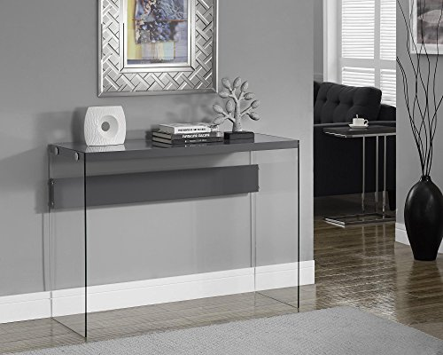 Monarch specialties I 3294, Console Sofa Table, Tempered Glass, Glossy Grey , 44