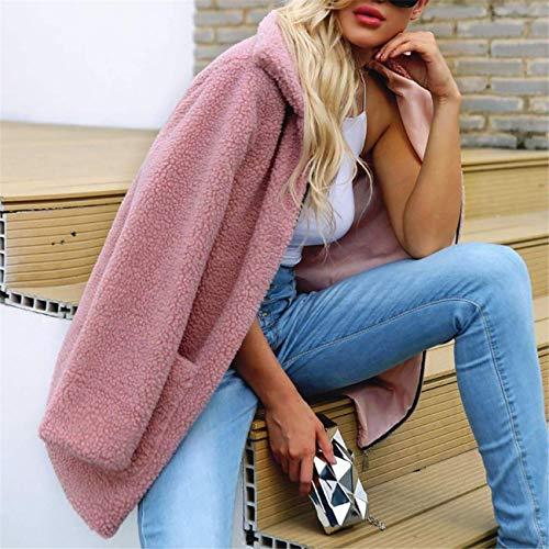Sweat Femmes Manteau Outwear Hiver La Veste Artificielle Parka Casual Laine Mode Un Ensemble Longues Rose Parka Top Automne Zipper Chaud À Manches ffqwrdU