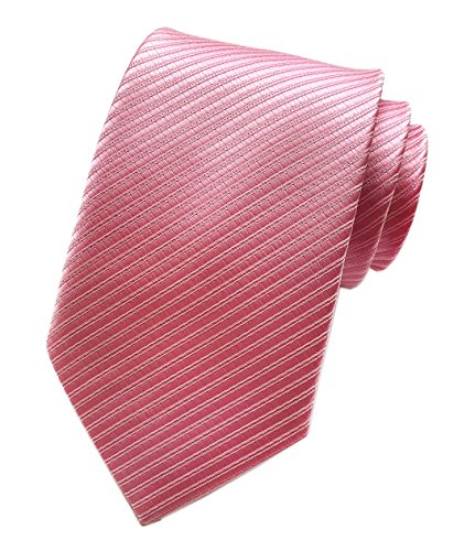 Elfeves Men's Silk Slim Ties Hot Pink Jacquard Formal Neckties Valentine's day (Dress Pinstriped Shirt Pocket)