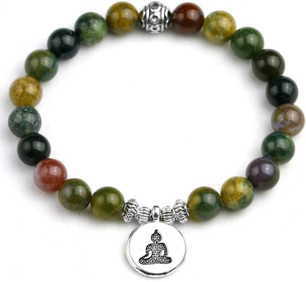 XBSZK Pulsera Natural Indian Onyx Mujeres Charm Bracelet Mix Buddha Lotus Strand Amantes Lucky 8 MM Perlas Pulseras Joyería Ajustable