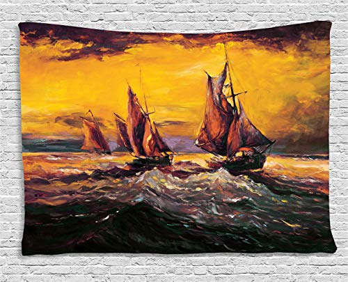 - Ambesonne Country Tapestry, Image of Old Sailboats Ships Cruising in Waves at Sunrise Time Dark Sky Art, Wide Wall Hanging for Bedroom Living Room Dorm, 60