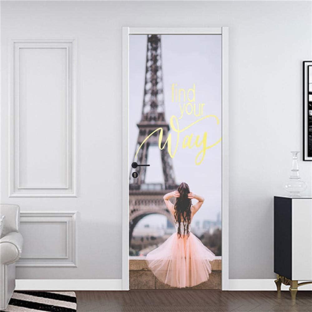 2pcs 3D Girl Silhouett Tür Aufkleber DIY wasserdicht selbstklebend Tür Wand