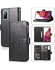 Miagon Zipper Case for Samsung Galaxy A31,Magnetic Closure Wallet Pocket Kickstand Card Holder Folio Butterfly Flower Embossing PU Leather Flip Case Cover,Black