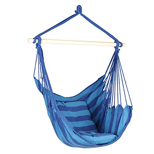 Hanging Rope Hammock Chair, Hanging Rope Chair Swings, 2 Seat Cushions Included, Max.265 Lb Blue