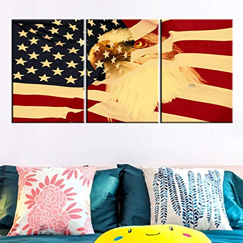 Eagle Head Wall Decor - American Flag Decor Bald Eagle Head Pictures Patriotic Wall Art Red Yellow Paintings for Home 3 Piece Modern Artwork on Canvas Framed Ready to Hang in Living Room Posters and Prints(60''Wx28''H)