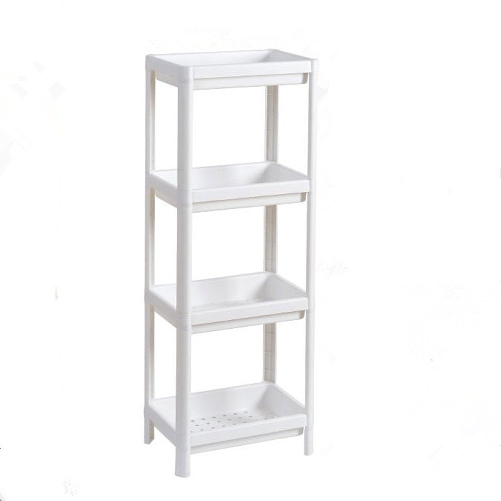 Aiosscd 4 Tiers Bathroom Space-saving Wall Shelf, Kitchen Storage Shelf, 100 x 35 x 23 cm Using in Bathroom, Living Room, Kitchen, White,