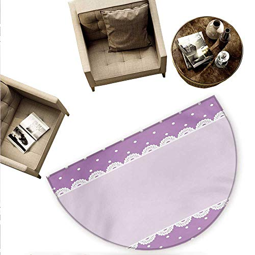Mauve Semicircular Cushion Old Fashioned Ornate Lace Pattern with Classical Polka Dots Background Image Entry Door Mat H 59