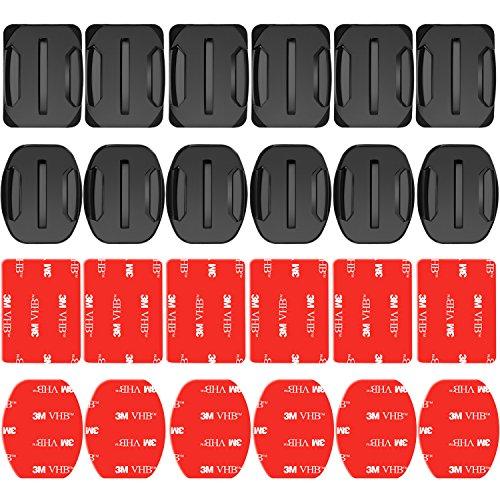 Neewer 24 Piezas Pegatina Adhesiva Almohadilla para Casco - 12 Monturas Planas y 12 Planas para GoPro Hero 7 6 5 4 3+ 3 2...