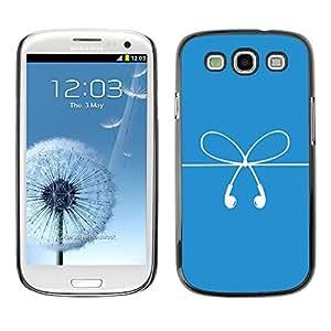 TopCaseStore / la caja del caucho duro de la cubierta de protección de la piel - Bow Strings White Blue Ear Plugs Art - Samsung Galaxy S3 I9300