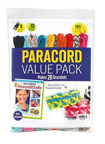 Make Paracord Bracelet (Paracord Value Pack | Crafting | 10 Hanks of Paracord - 180 Ft total of Paracord, 20 Buckles, 1 Paracord Crafts Pattern Book - Paracord Kit Makes 20 Paracord Bracelets)