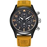 BENYAR Fashion Men's Quartz Chronograph Waterproof Watches Sport Leather Band Strap Wrist Watch (Orange B)