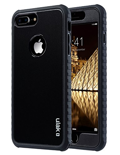 ULAK iPhone 7 Plus Case, iPhone 7 Plus Case Black, Shockproof Flexible TPU Bumper Case Durable Anti-Slip Slim Front and Back Hard Protective Cover for Apple iPhone 7 Plus 5.5 inch