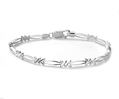 Citerna Diamond Shape Link Sterling Silver Bracelet of 18.4 cm JgeJx
