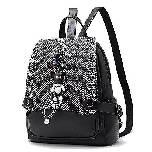 (JVP1073-B3) señoras mochila de cuero de la PU todos los 5 colores de gran capacidad bolsa de viaje de vuelta señoras de moda simple luz popular escuela suburbana Negro 4