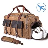 22'' Large Multi-Functional Canvas Travel Duffel Bag Overnight Carry On Bag Travel Tote Shoulder Bag Khaki