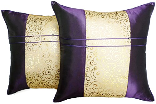 Set of Two Purple Silk Throw Cushion Pillow Covers Gold Print Middle Stripe for Decorative Living Room Bed room Sofa Car Size 16 x16 Inches by Moose546 (Gold And Purple Throw Pillows)