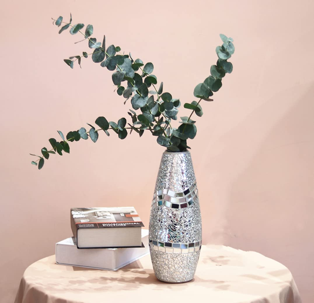 COMMODA Tall Handmade Mosaic Crackle Glass Decorative Vase House Decor Table Centerpieces Modern Gifts for Home Decor Holiday Anniversary Celebration (White Silver, Medium-12inch)