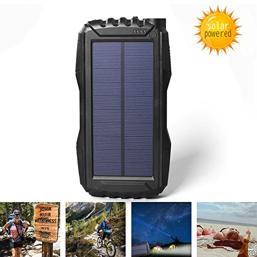 Elzle 25000mAh mobile Solar electrica Bank parallel USB end result Battery Bank having tough LED Light, Outdoor Solar Charger mobile External Battery Shockproof/Dustproof for iPhone Series,Smart Phone,More