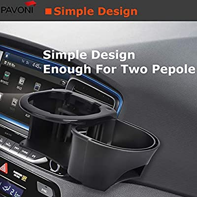 PAVONI 2-in-1 Travel Car Cup Holder for Drink Mugs Bottles Balanced Spill Resistance for All Vehicles Tumblers Air Vent Mount System with Adjustable Height and Cans