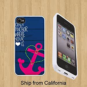 Drop Anchor Design Custom Case/Cover FOR Apple iPhone 5** WHITE** Rubber Case ( Ship From CA )