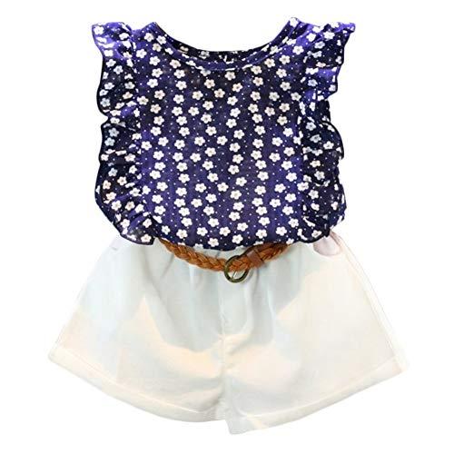 2PCS Set Toddler Kids Baby Girls Outfits Clothes T-Shirt Vest Tops+Shorts Pants(2-6 T) Blue -