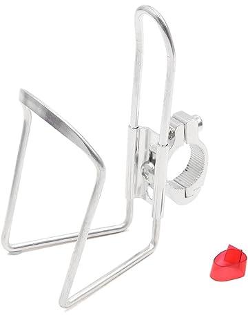 sourcing map 22mm Manillar Bicicleta Soporte de Cantimplora Porta Bebidas Aleación de Aluminio Tono Plata