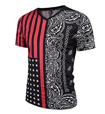 Abetteric Men's Short Sleeve Printing Striped Stylish Thin Flag T-Shirt Pullover