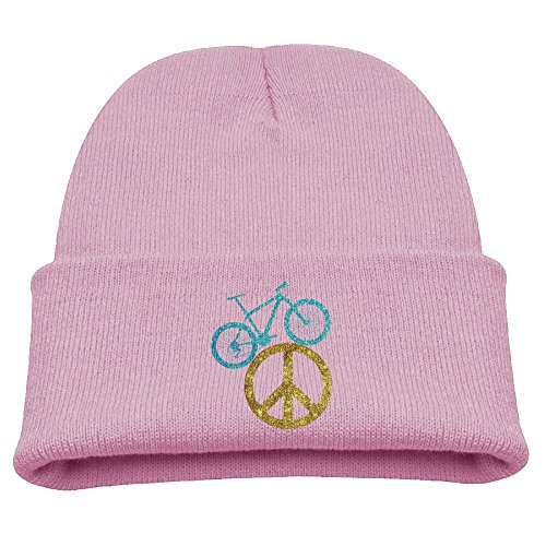 Lover Watch Gold (Rfysqc Wposg Peace Sign Bicycle Bike Lover Gold Glitter Boys Girls Child Cute Knit Beanies Hats Watch Hats Warmer Pink)