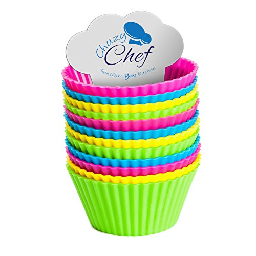 UPC 678542947239, Reusable Silicone NonStick Baking Cups- Assorted Colors Cupcake Holder Set- 12 Pieces by Chuzy Chef